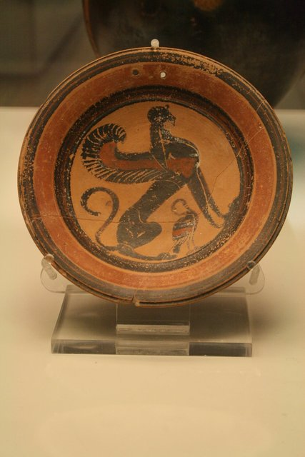 Ancient Imagination: Plate with sphinx and bird