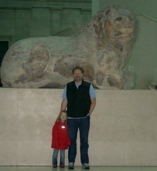Sadie & me in front of the Lion of Knidos, inside the British Museum, Dec. 30, 2009