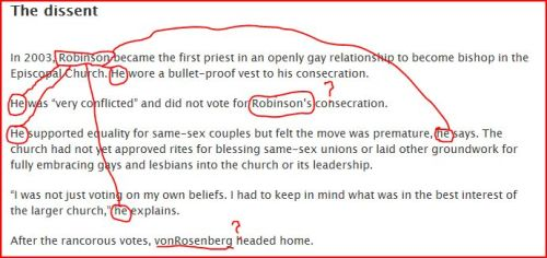 "A Charleston reporter forces Bishop Robinson to hook up with several ""he""s"