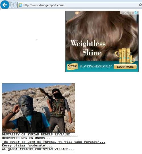 Drudge Report screen grab makes for a sad juxtaposition of news and advertising.