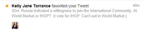 "My tweet was ""favorited"" by a sharp writer."