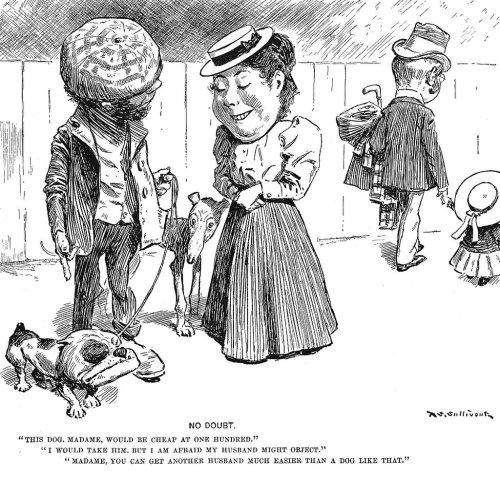 "This T.S. Sullivant cartoon, entitled ""No Doubt,"" was published in Life magazine on September 29, 1898.  This image is in the public domain because its copyright has expired."