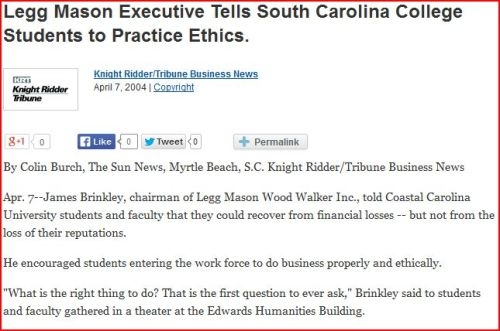 Flashback: Legg Mason exec spoke to Coastal Carolina students about ethics