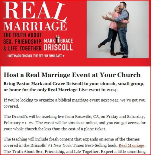 "Mark Driscoll and Resurgence push upcoming ""Real Marriage"" simulcast event shortly after the Kindle edition of the book finally acknowledges Dan Allender's ideas that shaped the book."