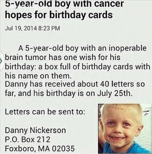 Send Danny Nickerson a birthday card. (Published on theCHIVE blog.)