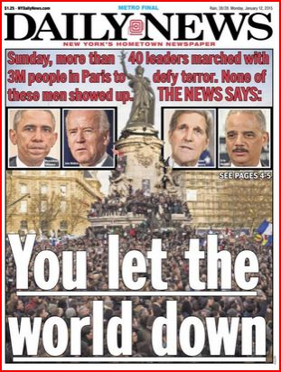 "The Daily News says the Obama Administration ""let the world down."""
