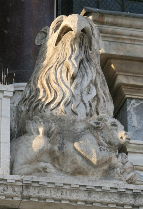 Photography of a griffin on the exterior of San Marco Basilica in Venezia, Italy -- Venice, Italy